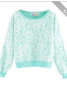 Teal/ tiffany blue lace sweater/jumper