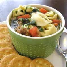Sweet Italian Chicken Sausage and Tortellini Soup Allrecipes.com