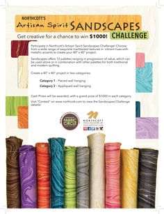 Northcott's Artisan Spirit Sandscapes Challenge featured in American Patchwork & Quilting August 2016 issue and  Quiltmaker Row Quilts