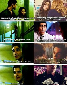 Teen Wolf season 5 - Scott and Kira talking about Stiles and Lydia. Stiles kept her drawing. Teen Wolf Stydia, Teen Wolf Dylan, Teen Wolf Stiles, Teen Wolf Cast, Dylan O'brien, Teen Wolf Quotes, Teen Wolf Memes, Teen Wolf Funny, Tv Quotes
