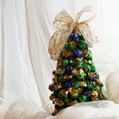 sweet DIY Christmas tree - made of bottle and pralines in 15 minutes! check on useful-crafting.blogspot.com