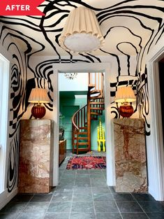 Bold Entryway Makeover with a DIY Painted Mural Deco Cool, Interior Decorating, Interior Design, Hotel Lobby, My New Room, Future House, Interior And Exterior, Wall Murals, Sweet Home
