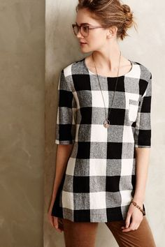 Newsprint Plaid Tunic - anthropologie.com