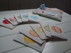 Coloured Stripes Fabric Memory Card Game