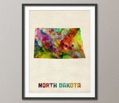 North Dakota Watercolor Map Usa Art Print 12x16 To 24x36 Inches 429