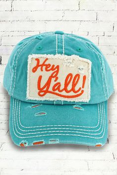 21a5a0cf344 This cap is the perfect year-round fashion accessory! Cotton Distressed Cap  and Patch with Embroidered Message Embroidered Message on Back Contrast ...