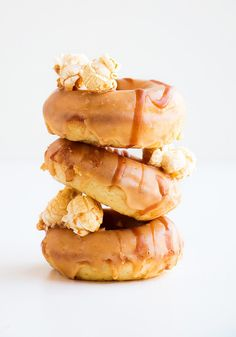 Salted Caramel Popcorn Donuts #breakfast #dessert #recipe