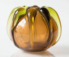 Vaso in vetro soffiato a mano dell'annata ciotola di di SovietEra