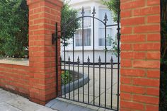 The Surrey Garden Gate Feature fleur de lys header with bow top designed to create an attractive entrance for any property Featuring deep frame and Metal Garden Gates, Wrought Iron Gates, Driveway Gate, Entrance Gates, Gate Design, Surrey, Outdoor Structures, Fences, Inspiration