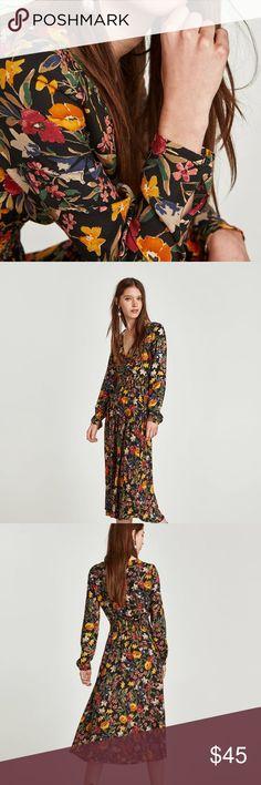3a64af2bb7d Zara New Floral Print Midi Dress XS AUTHENTIC ZARA FLORAL PRINT DRESS REF   8342