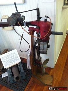 now that is an old boat motor. at the St.Petersburg beach museum.
