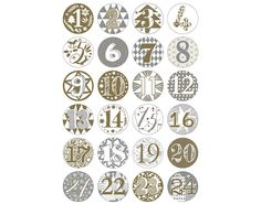 24 Numbered Badges for Advent Calendar Crafts Gold & Silver - Diy Gifts Deco Harry Potter, Calendar Numbers, Personalized Photo Frames, Advent Season, Diy Advent Calendar, Advent Calendars, Printable Calendar Template, Theme Noel, Christmas Books