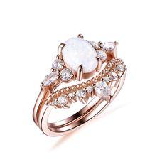Oval Africa Opal Engagement Ring Bridal Sets Tiara Diamond Wedding Band 14k Rose Gold 6x8mm - 3 / 14K Yellow Gold