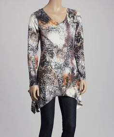 Love this Black & White Abstract Leopard Sidetail Tunic by Radzoli on #zulily! #zulilyfinds