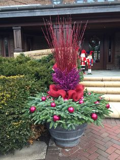 23 Winter Container Garden Ideas For 2019 - A Nest With A Yard : Cranberry red pairs perfectly with soft green fir. Outdoor Christmas Planters, Christmas Garden, Outdoor Planters, Winter Garden, Christmas Topiary, Winter Porch, Winter Container Gardening, Garden Container, Winter Planter