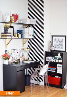 Before & After: A Corner Work Space Gets a Striped & DIY Update | Apartment Therapy