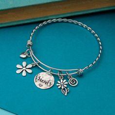 Friends Bangle Bracelet with Charms Best Friend Jewelry | Etsy