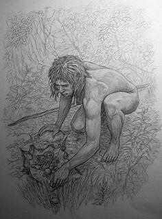 Homo heidelbergensis gathering food by Juan Navarro