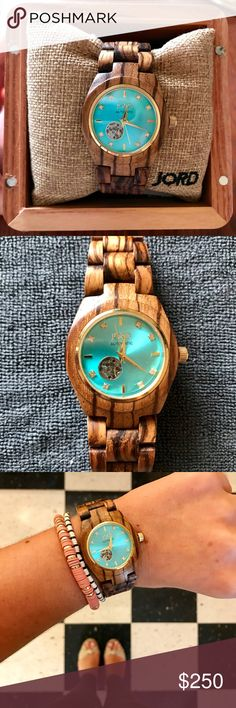 Jord Watch Cora Series Beautiful Zebrawood/Turquoise watch. Worn about 5 times- excellent condition. Comes in box, with cleaning accessories. This is fit to my wrist, which measures exactly 6 inches, and 2 extra links are included. Accessories Watches
