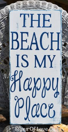 Beach Decor Rustic Hand Painted Beach Wood Sign, The Beach Is My Happy Place Quote, Nautical House Coastal Style Room Wall Art Gift Ideas