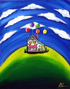 UP Whimsical House Balloons Folk Art Original Painting via Etsy