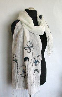 Natural Linen Scarf Felted Wool Milk White Poppy Shawl Scarf