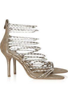 Jimmu Choo -Lauren diamanté and suede sandals