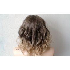 Ombre Wig Brown Blonde Ombre Wig Short Wig Beach Waves Hairstyle... ($118) ❤ liked on Polyvore featuring beauty products, haircare and hair styling tools