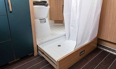 SPORT & FUN Interior pull-out shower tray Source by weinlder Related posts: Ford Transit – Home on wheels ! 50 Cool and Fresh Ideas Van Life Interior Design Ford Transit – home on wheels! Interior Motorhome, Interior Trailer, Van Interior, Ford Interior, Diy Interior Hacks, Camper Van Shower, Camper Bathroom, Bathroom Storage, Bathroom Interior