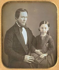 "tuesday-johnson: "" ca. 1850's, [daguerreotype portrait of a gentleman and his daughter] """