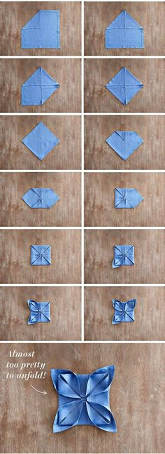 "Your Step-by-Step Guide to Nailing 3 Hot Napkin Folds Take your holiday table the next level by mastering ""The Lotus Fold"" with your dinner napkins!<br> Take your holiday table to the next level this year by mastering three new ways to. Party Napkins, Dinner Napkins, Dinner Table, Wedding Napkin Folding, Wedding Napkins, Christmas Napkin Folding, Napkin Folding Flower, Paper Napkin Folding, Napkin Rose"