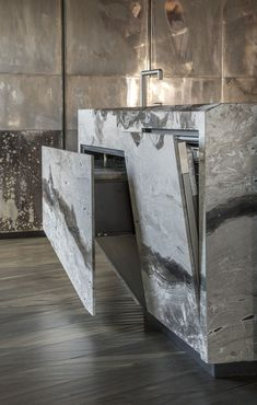 silver plated brass doors by Henge Design My Kitchen, Home Room Design, Bathroom Interior Design, Kitchen Interior, Kitchen Decor, House Design, Muebles Living, Stone Kitchen, Luxury Kitchens