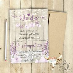 Wedding Invitation / Shabby Chic Wedding Invitation / Rustic / PRINTABLE Customized / Wood / Vintage / Lilac / Orchid / Boho Wedding / Lace