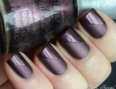 Purple matte nails with polished slanted tips