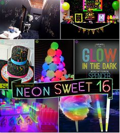 Neon Glow-in-the-Dark Sweet 16 Party Theme Ideas! - Neon Glow-in-the-Dark Sweet 16 Party Theme Ideas! Neon Glow-in-the-Dark Sweet 16 Party Theme Ideas! Neon Birthday, 13th Birthday Parties, Sweet 16 Birthday, Birthday Party Themes, Cake Birthday, 16th Birthday Ideas For Girls, Unique Birthday Party Ideas, 16th Birthday Decorations, 16th Birthday Gifts