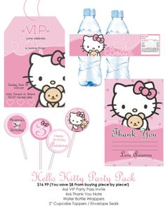 Birthday: Hello Kitty: Invite, Thank You Card, Cupcake Toppers & Water bottle wrappers
