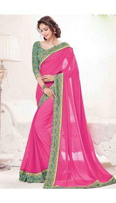 Pink Georgette Saree With Art Silk Blouse - DMV10881