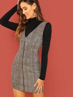 Zipper Up Fitted Shell Dress -SheIn(Sheinside)