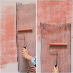 Paint Rollers and Stencil Supplies from Royal Design Studio - Paint a Pink Textured Wall Finish...just one step, but creating texture through a metal mesh vent. See the finished product before you determine whether you like it or not More