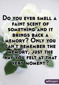 """Do you ever smell a faint scent of something and it brings back a memory? Only you can't remember the memory, just the way you felt at that very moment?"" Much of smell is processed by the limbic system, and it has the ability to trigger memories. Inspiring Quotes About Life, Inspirational Quotes, Motivational, Me Quotes, Funny Quotes, Truth Quotes, Fact Quotes, Qoutes, Whisper Quotes"