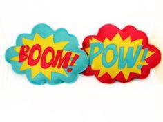 BOOM & POW   plushie / cushion - Superhero sound effect - Speech bubble. £12.00, via Etsy.