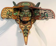 Raven Releasing Salmon Transformation Mask by Tom D. Hunt, Kwakwaka'wakw artist (W40901)