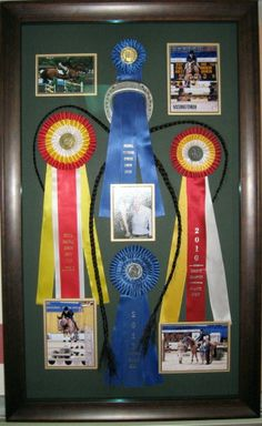 Horse show ribbon shadow box idea