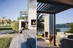 The deck has a built-in barbecue and a chaise designed by the site's landscape architect, Orson Waldock.