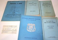 Lot NYPD Police NYC Patrolman Penal Law Code PBA Books Uniform Ephemera Vtg 60s