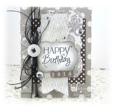 Card by Teresa Kline using Happy Birthday from Verve.  #vervestamps