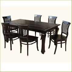 Kansas City Contemporary Ebony Kitchen Table with School Back Chairs Informal Ebony Dining Rustic Dining Table Set, Dining Table Legs, Solid Wood Dining Table, Table And Chair Sets, Dining Table In Kitchen, Dining Area, High Back Dining Chairs, Blue Dining Room Chairs, Dining Table Dimensions