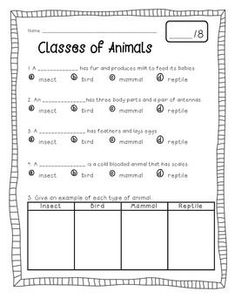 This is a great resource to supplement a unit on animals!   This product contains     - a book students can fill out     - a cloze notes page (with answer key)     - a quiz (with answer key) The focus is on mammals, reptiles, insects,   This is my first TPT product, so be sure to leave feedback! :)