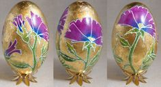 Art Nouveau style Goose Egg with Gold Flower by GrnFaerieDesigns