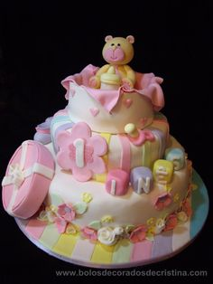 Christening Teddy Bear Cake - Cake by Cristina Arévalo